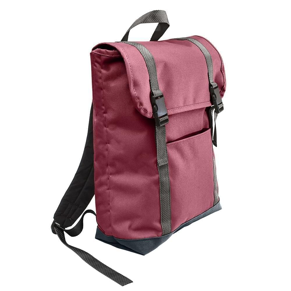 USA Made Poly Large T Bottom Backpacks, Burgundy-Black, 2001922-AQR