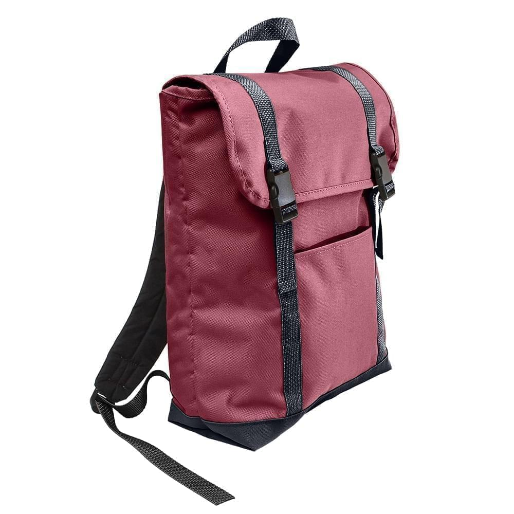 USA Made Poly Large T Bottom Backpacks, Burgundy-Graphite, 2001922-AQT