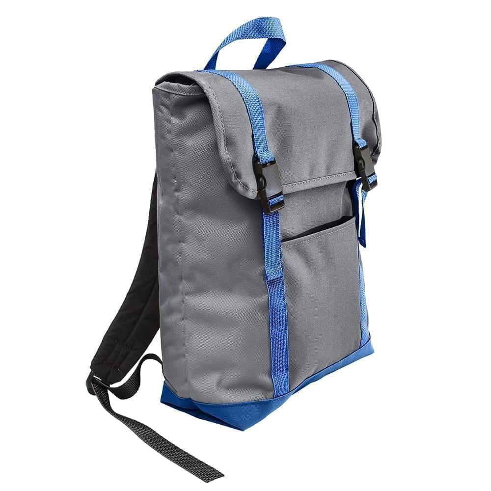 USA Made Poly Large T Bottom Backpacks, Graphite-Royal, 2001922-AR3
