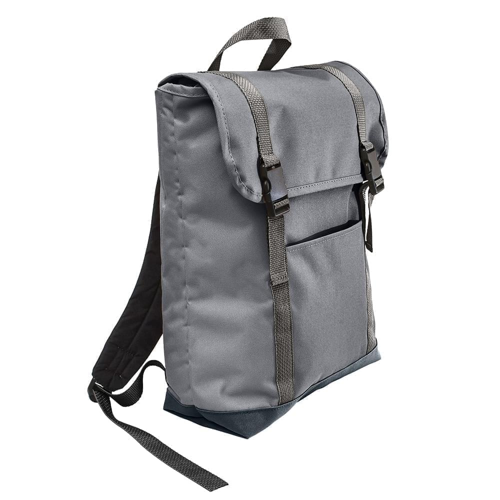 USA Made Poly Large T Bottom Backpacks, Graphite-Black, 2001922-ARR