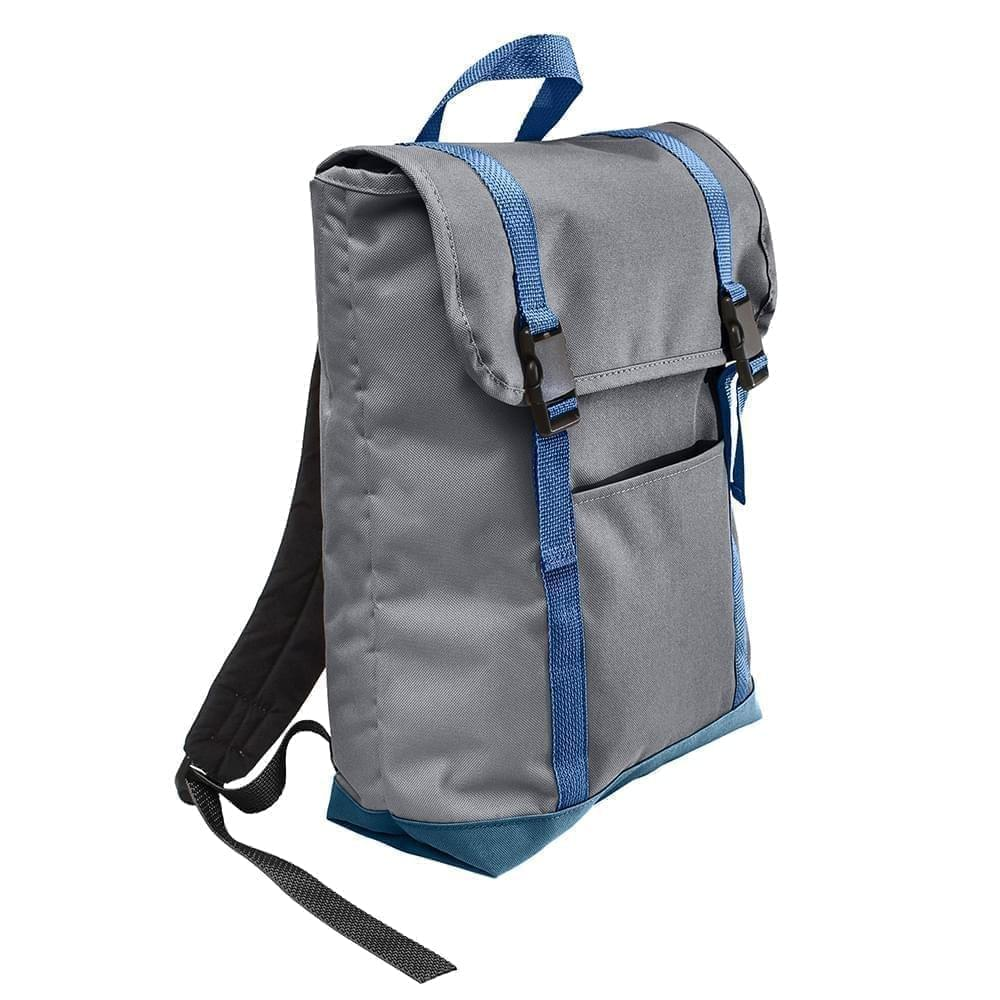 USA Made Poly Large T Bottom Backpacks, Graphite-Navy, 2001922-ARZ