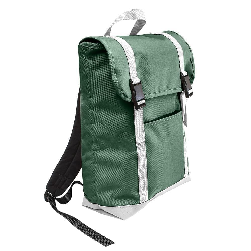 USA Made Poly Large T Bottom Backpacks, Hunter-White, 2001922-AS4