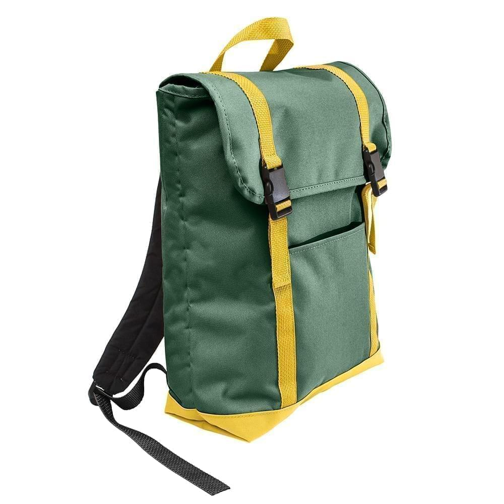 USA Made Poly Large T Bottom Backpacks, Hunter-Gold, 2001922-AS5