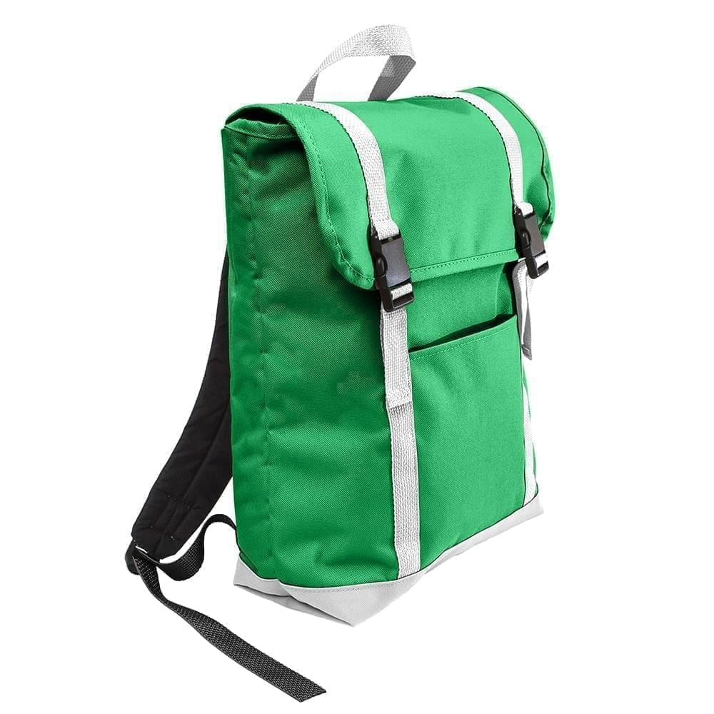 USA Made Poly Large T Bottom Backpacks, Kelly-White, 2001922-AT4