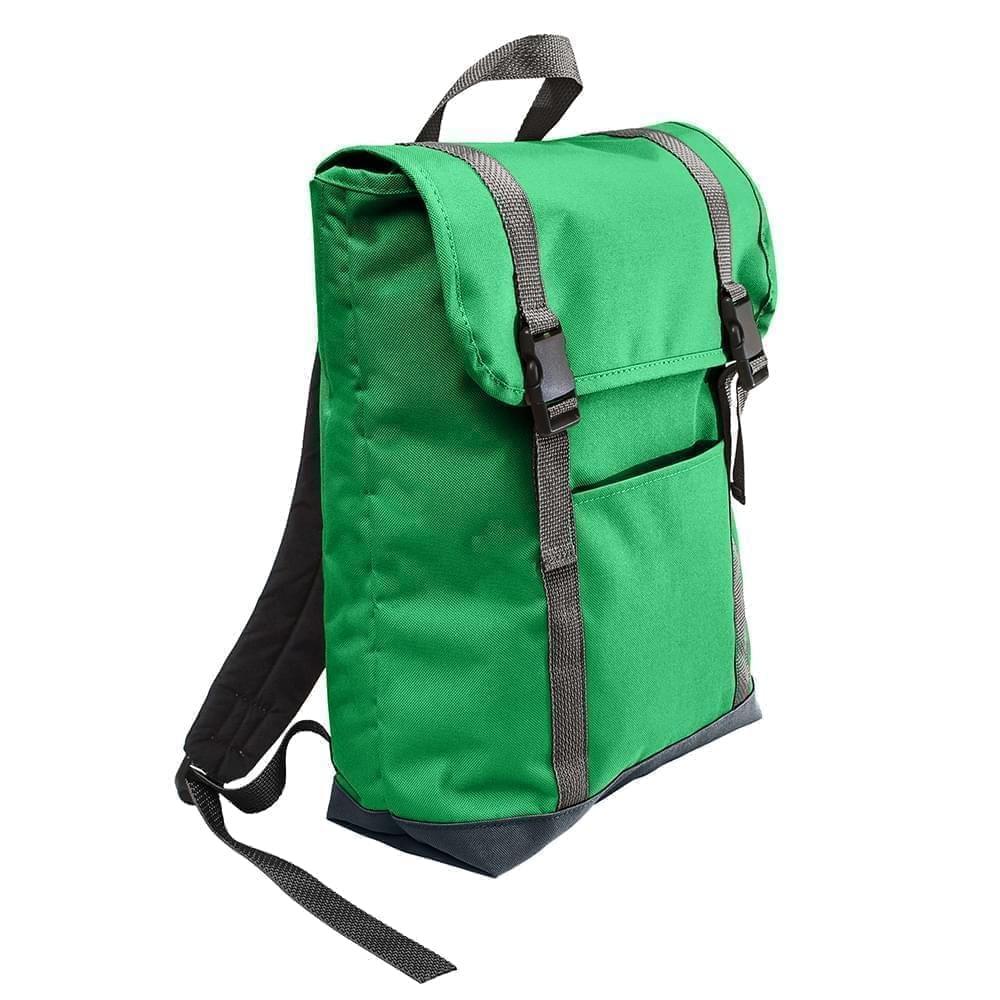 USA Made Poly Large T Bottom Backpacks, Kelly-Black, 2001922-ATR