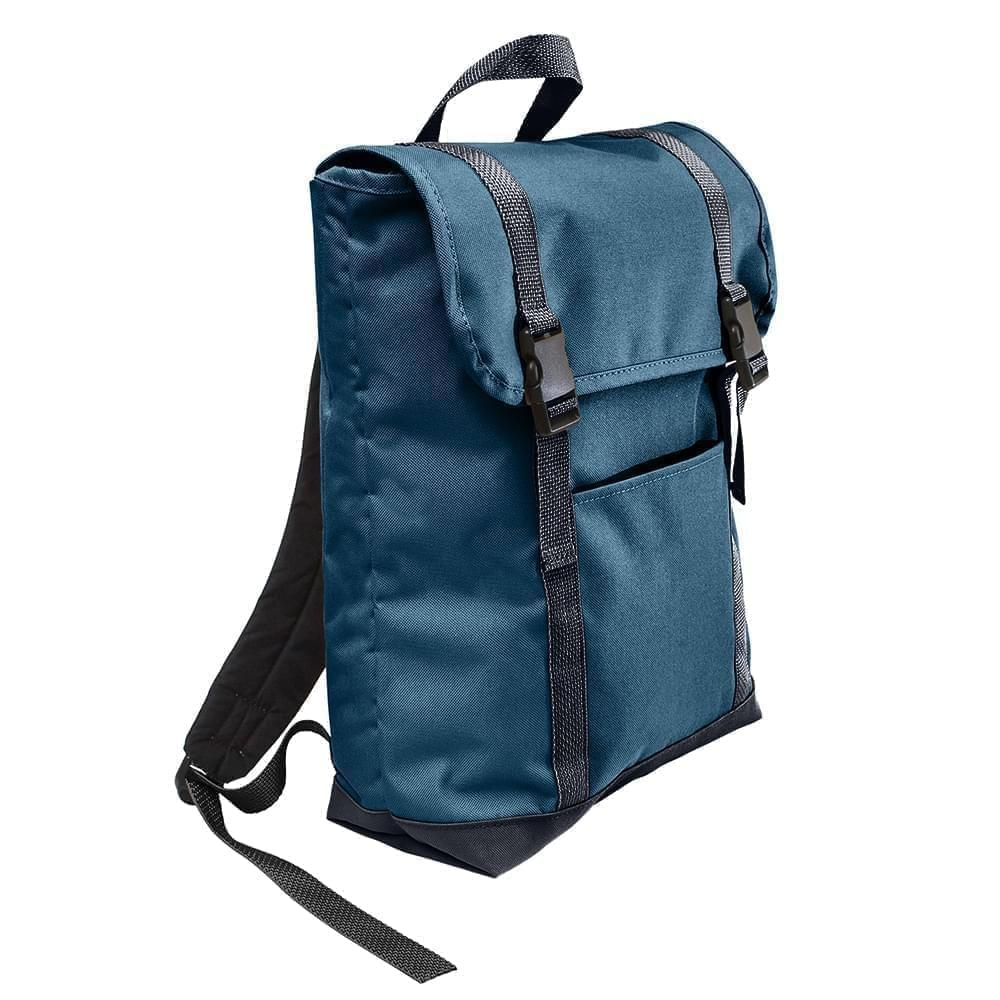 USA Made Poly Large T Bottom Backpacks, Navy-Graphite, 2001922-AWT