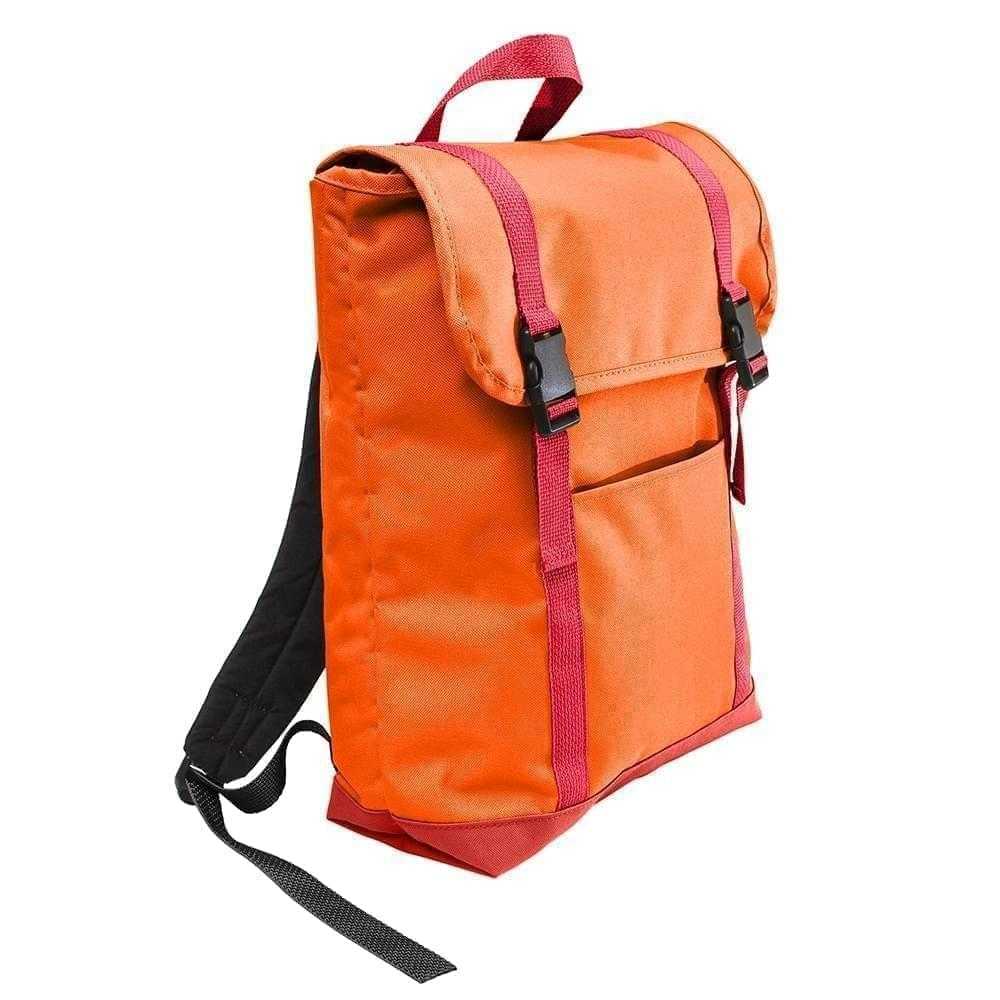 USA Made Poly Large T Bottom Backpacks, Orange-Red, 2001922-AX2