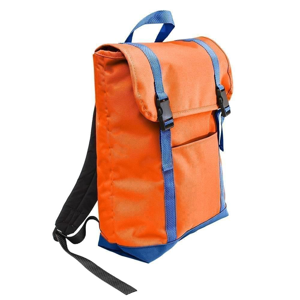 USA Made Poly Large T Bottom Backpacks, Orange-Royal, 2001922-AX3