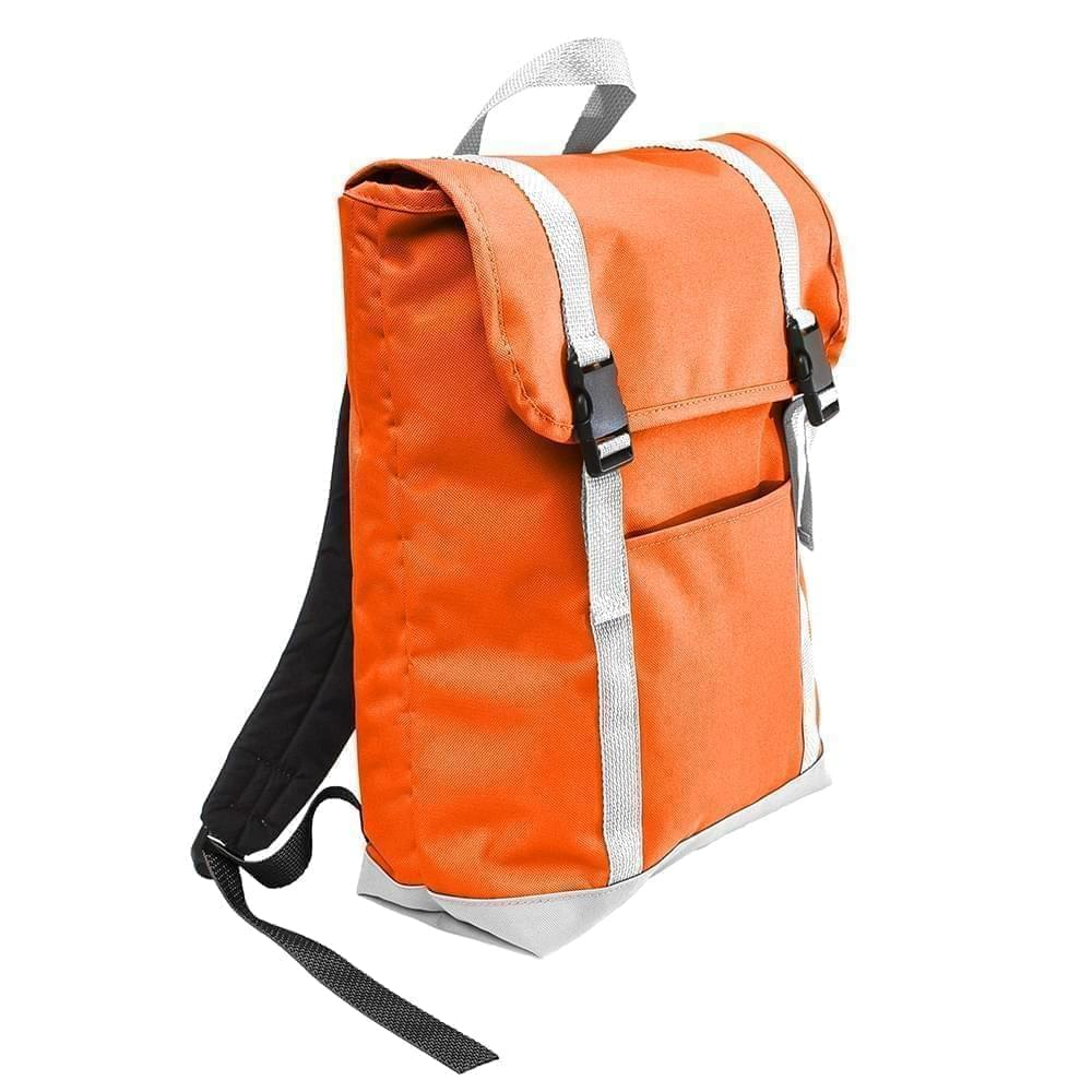 USA Made Poly Large T Bottom Backpacks, Orange-White, 2001922-AX4