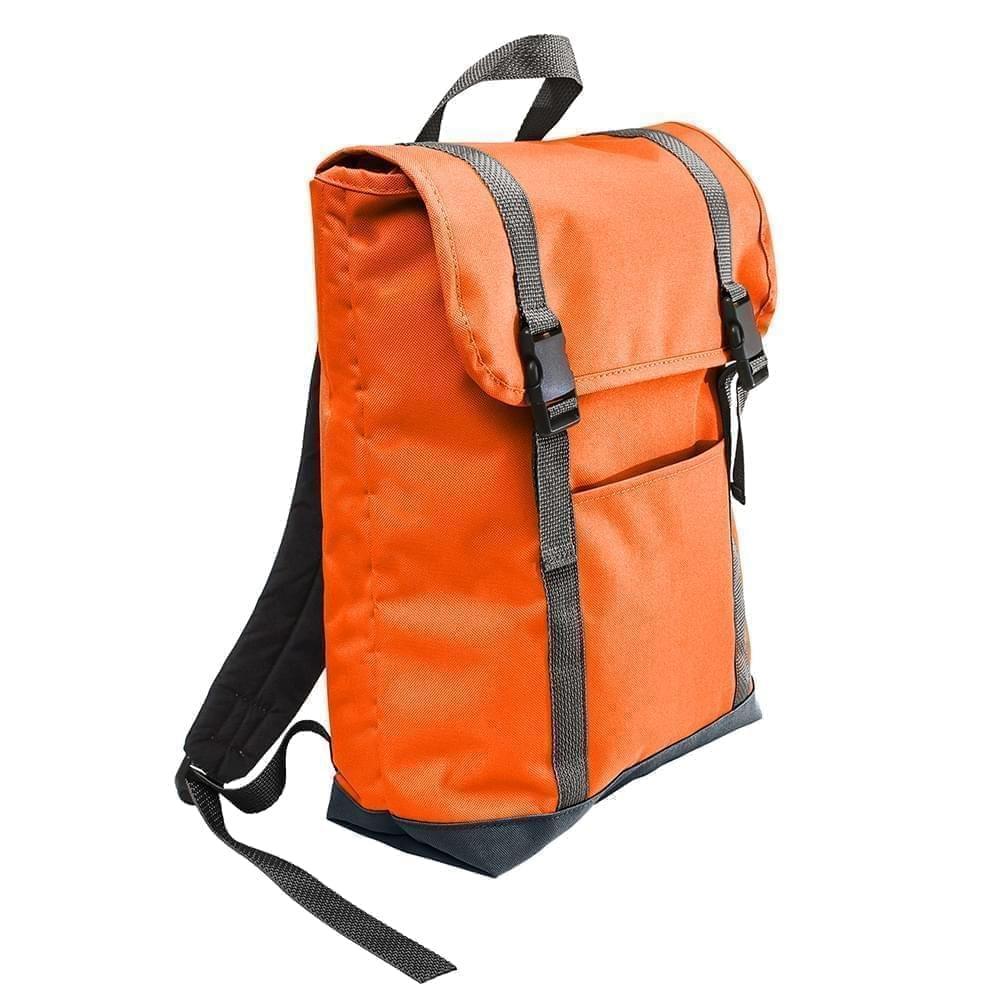 USA Made Poly Large T Bottom Backpacks, Orange-Black, 2001922-AXR