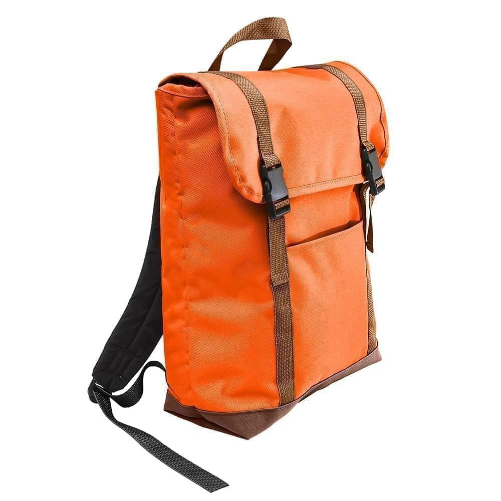USA Made Poly Large T Bottom Backpacks, Orange-Brown, 2001922-AXS