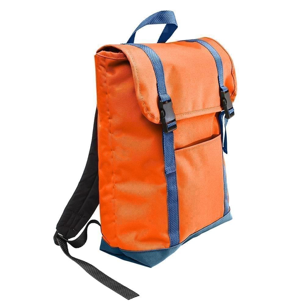 USA Made Poly Large T Bottom Backpacks, Orange-Navy, 2001922-AXZ