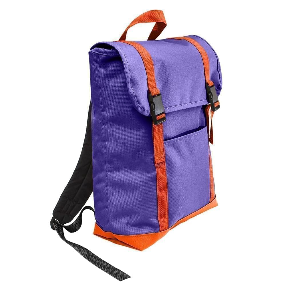 USA Made Poly Large T Bottom Backpacks, Purple-Orange, 2001922-AY0