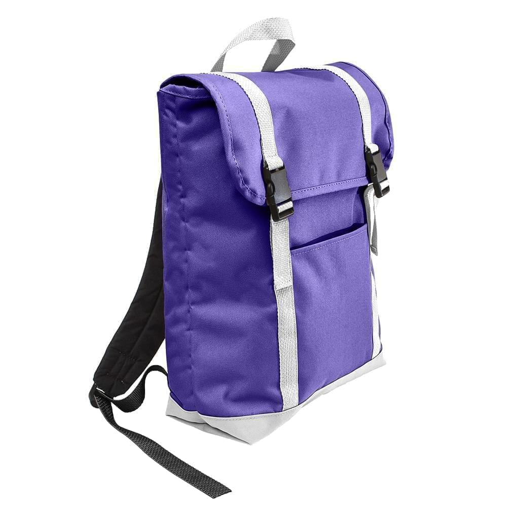 USA Made Poly Large T Bottom Backpacks, Purple-White, 2001922-AY4