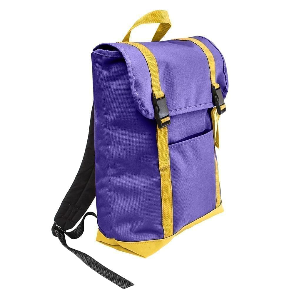 USA Made Poly Large T Bottom Backpacks, Purple-Gold, 2001922-AY5