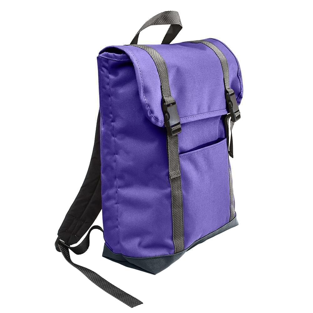 USA Made Poly Large T Bottom Backpacks, Purple-Black, 2001922-AYR