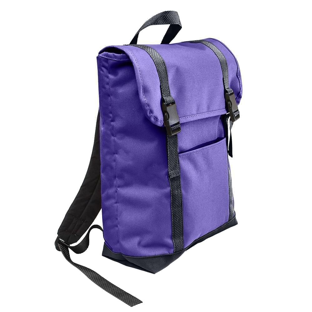 USA Made Poly Large T Bottom Backpacks, Purple-Graphite, 2001922-AYT