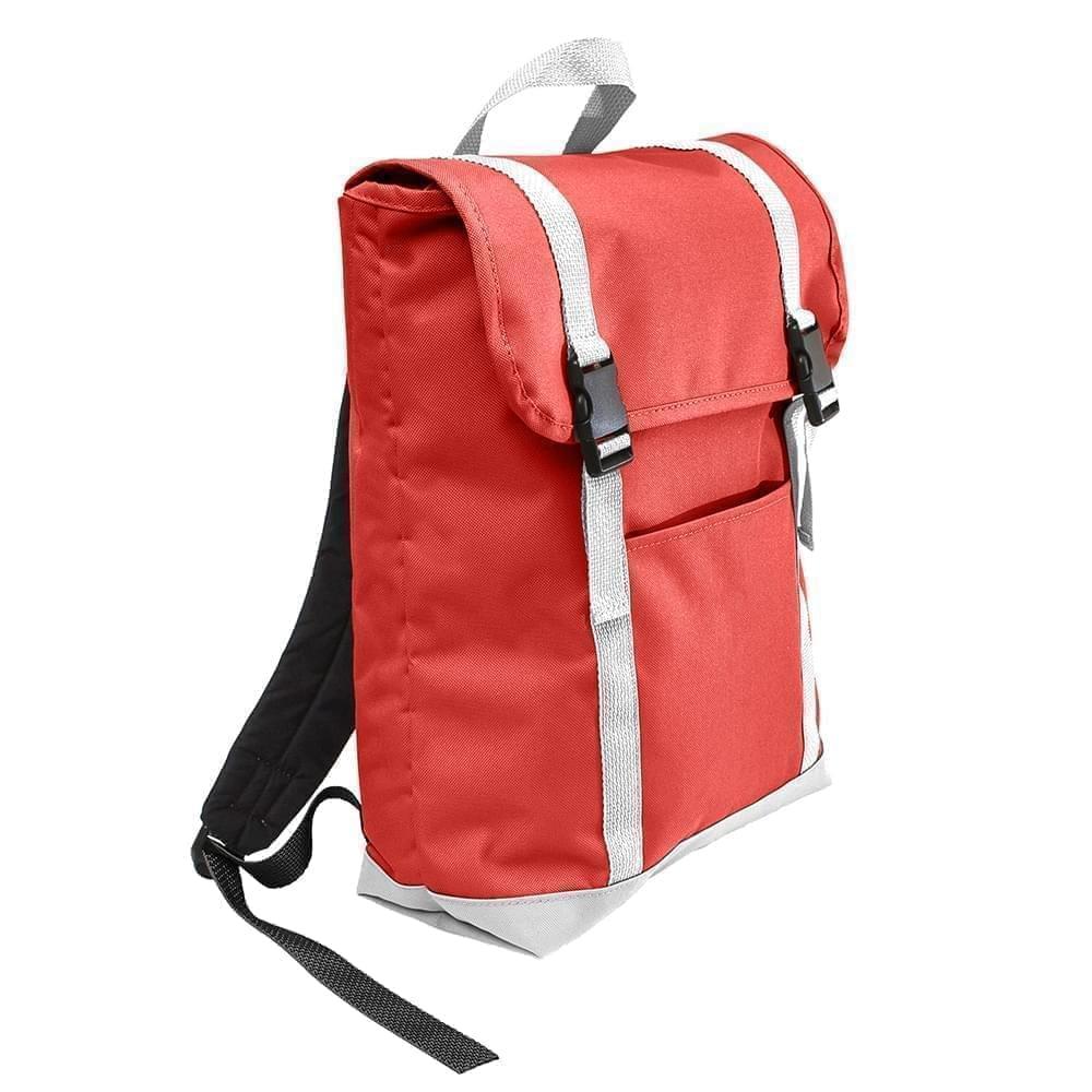 USA Made Poly Large T Bottom Backpacks, Red-White, 2001922-AZ4