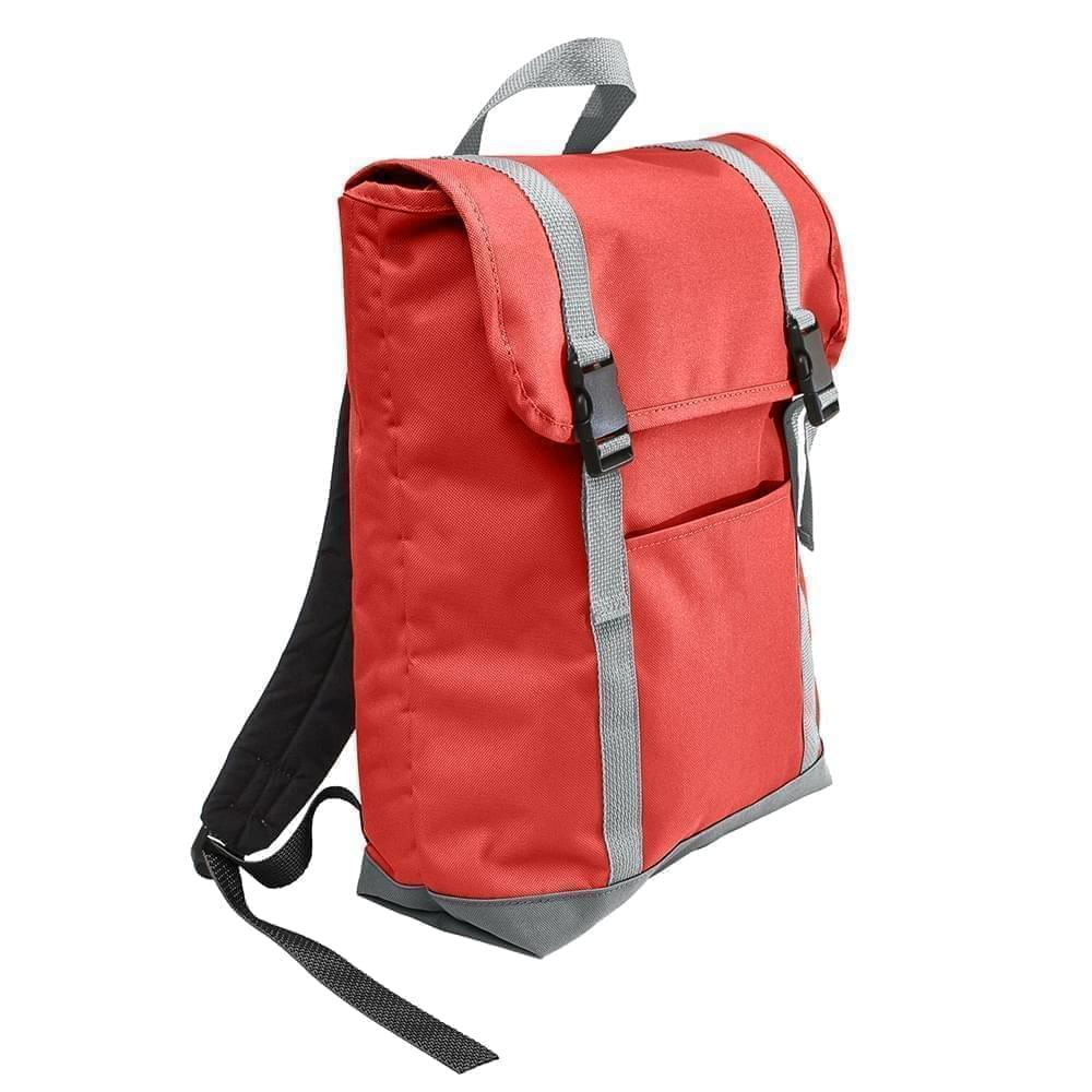 USA Made Poly Large T Bottom Backpacks, Red-Gray, 2001922-AZU