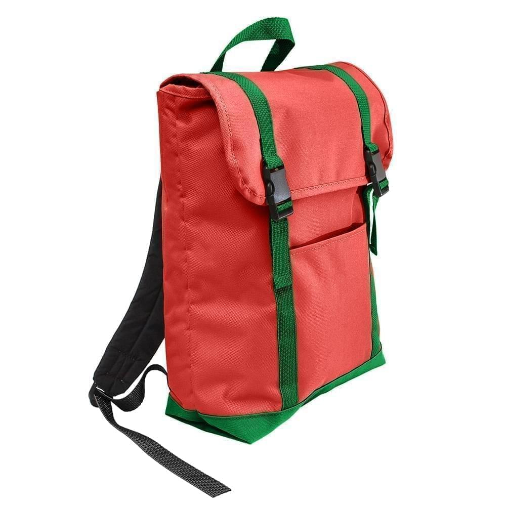 USA Made Poly Large T Bottom Backpacks, Red-Kelly, 2001922-AZW
