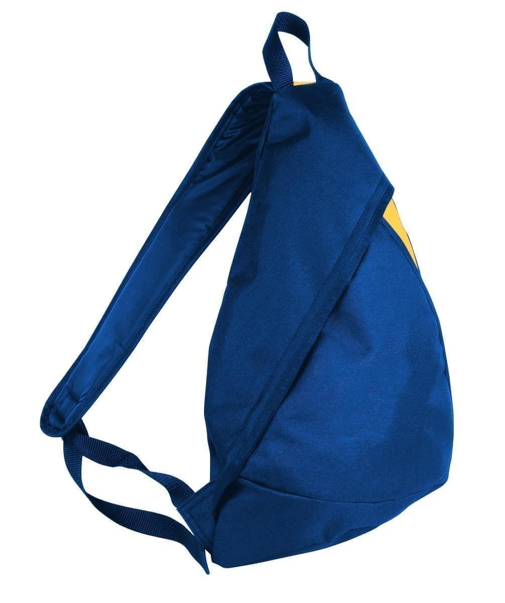 USA Made Poly Sling Messenger Backpacks, Royal Blue-Gold, 2101110-A05
