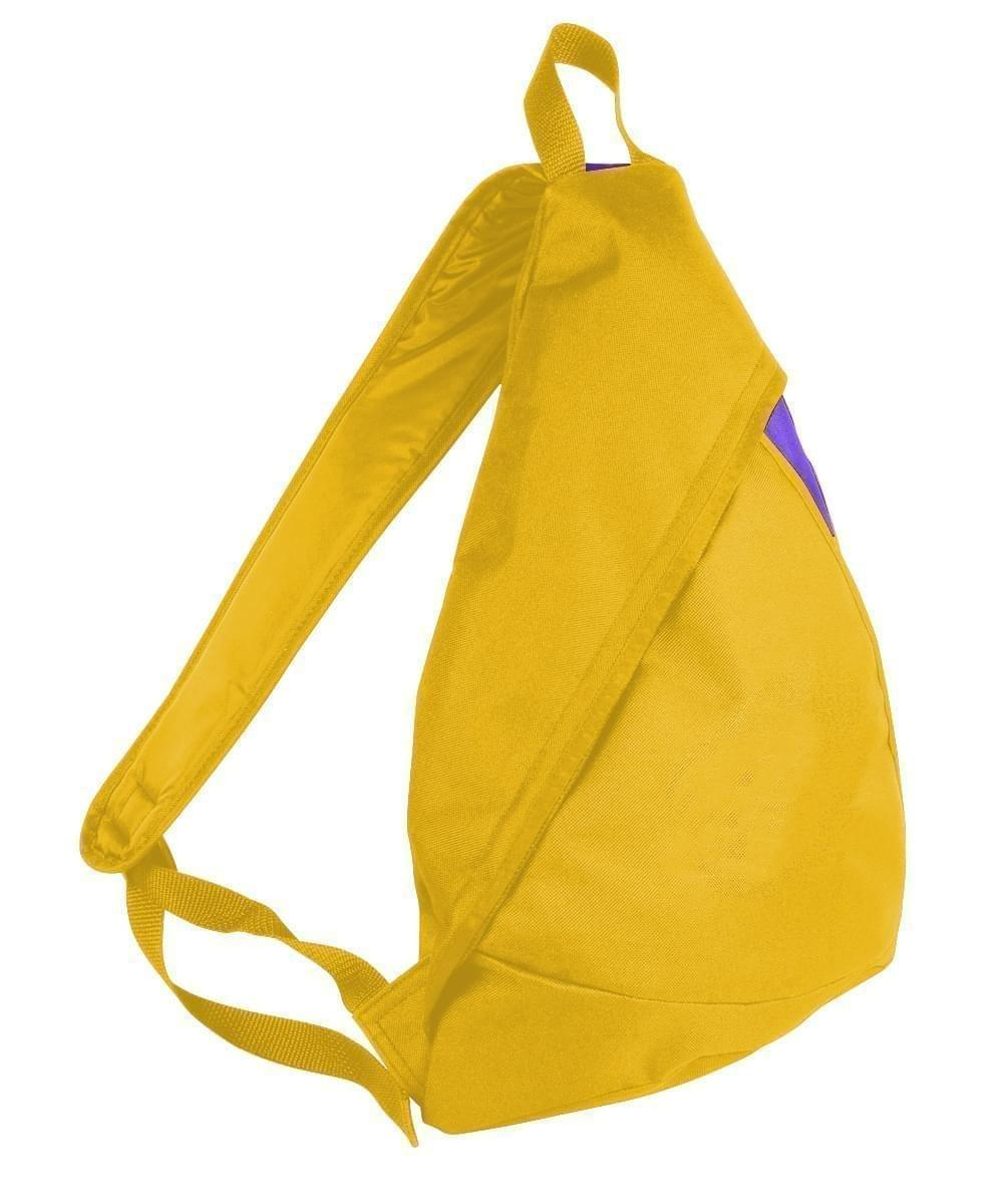USA Made Poly Sling Messenger Backpacks, Gold-Purple, 2101110-A41