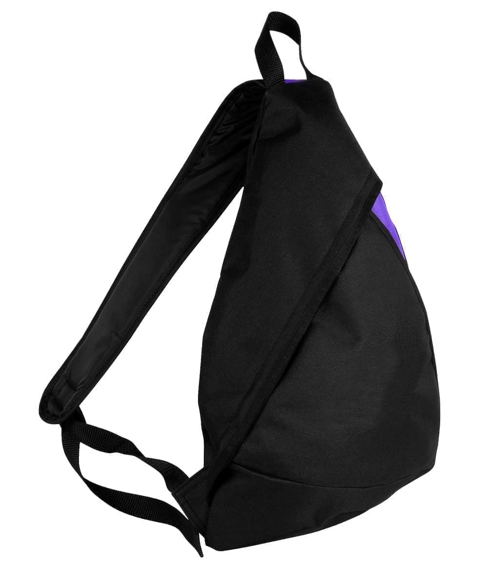 USA Made Poly Sling Messenger Backpacks, Black-Purple, 2101110-AO1