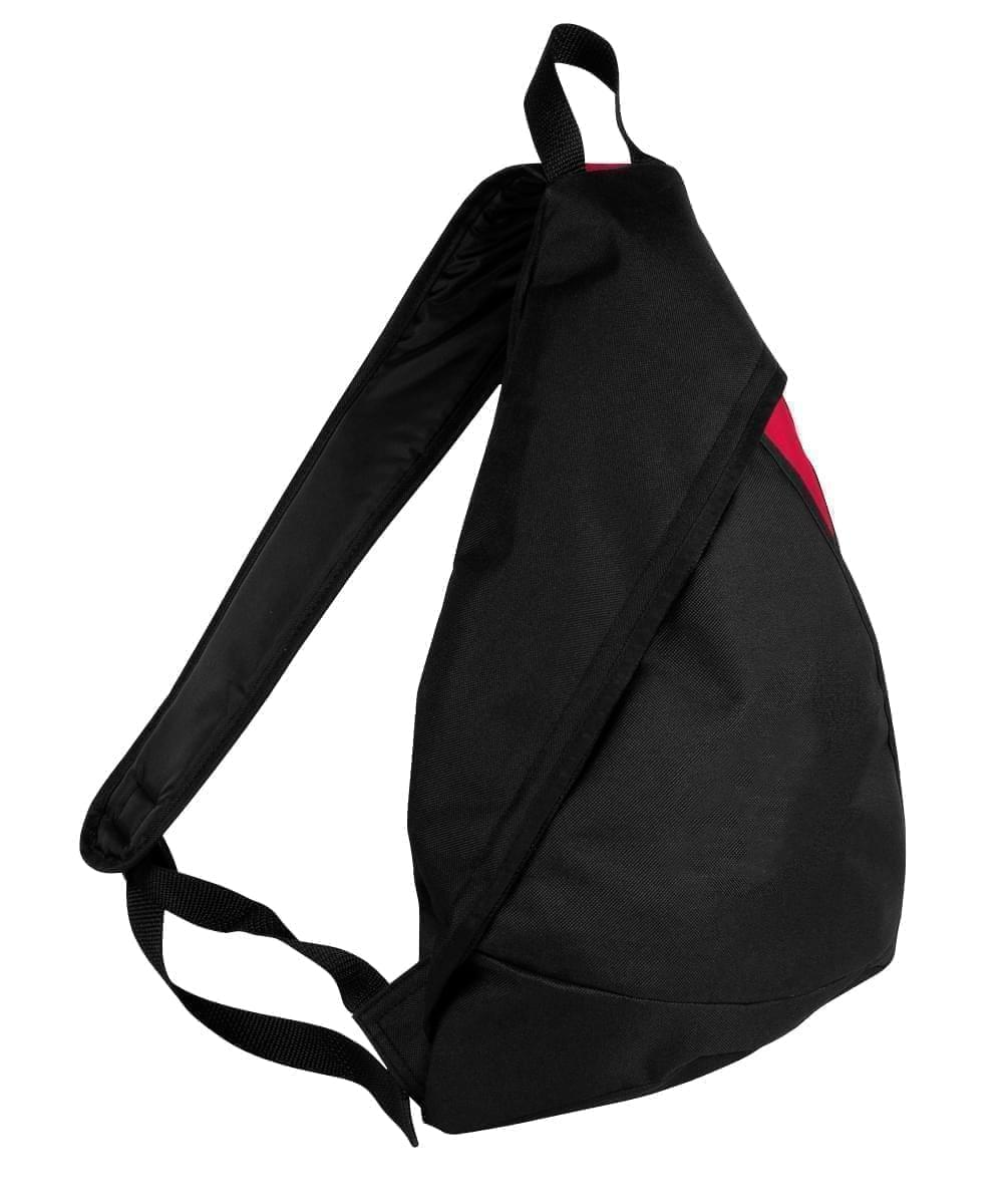 USA Made Poly Sling Messenger Backpacks, Black-Red, 2101110-AO2