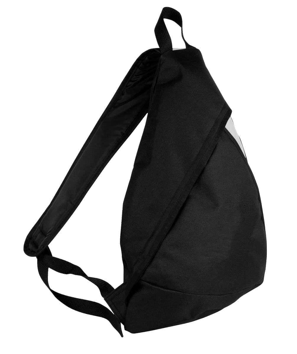 USA Made Poly Sling Messenger Backpacks, Black-White, 2101110-AO4