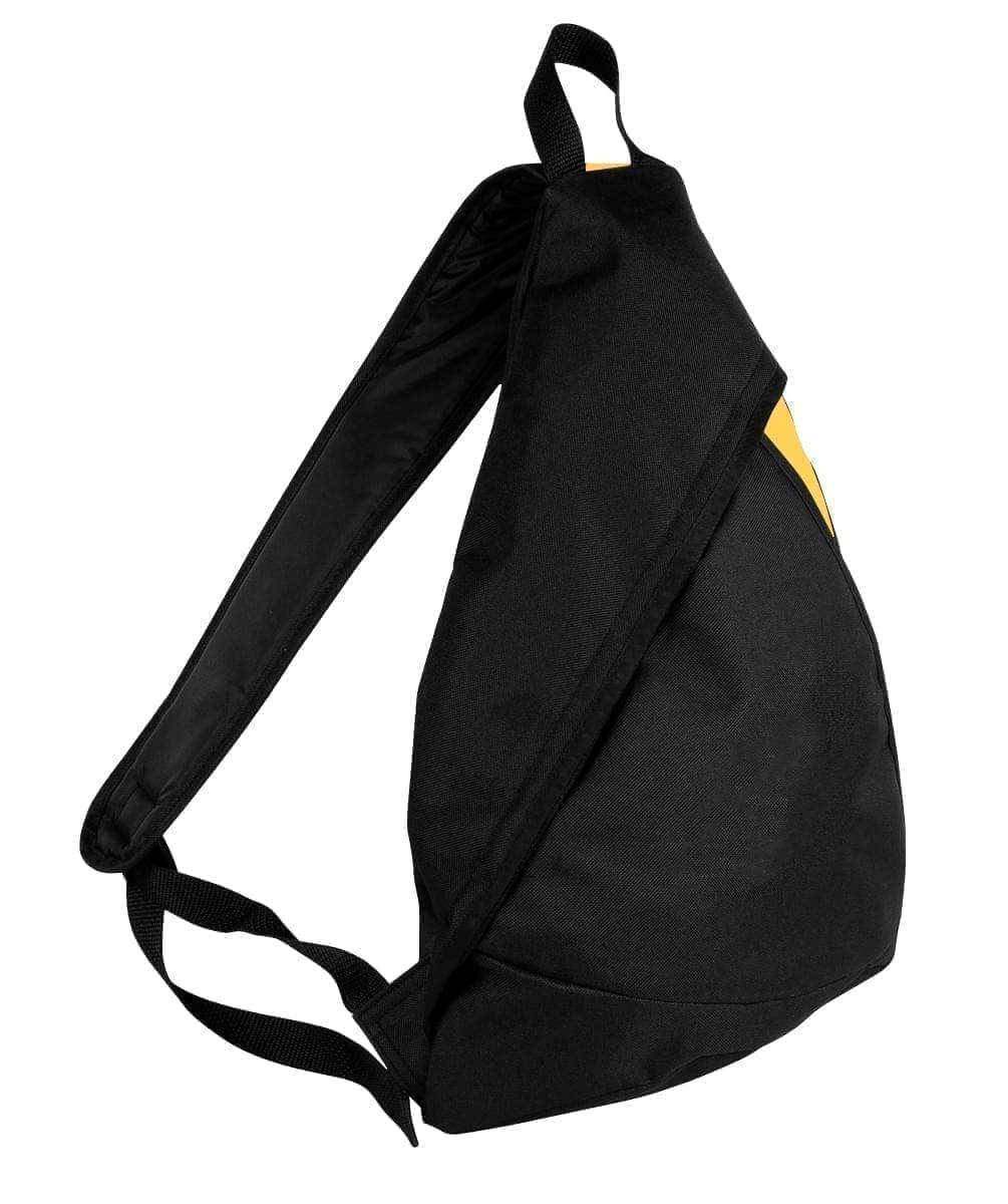 USA Made Poly Sling Messenger Backpacks, Black-Gold, 2101110-AO5