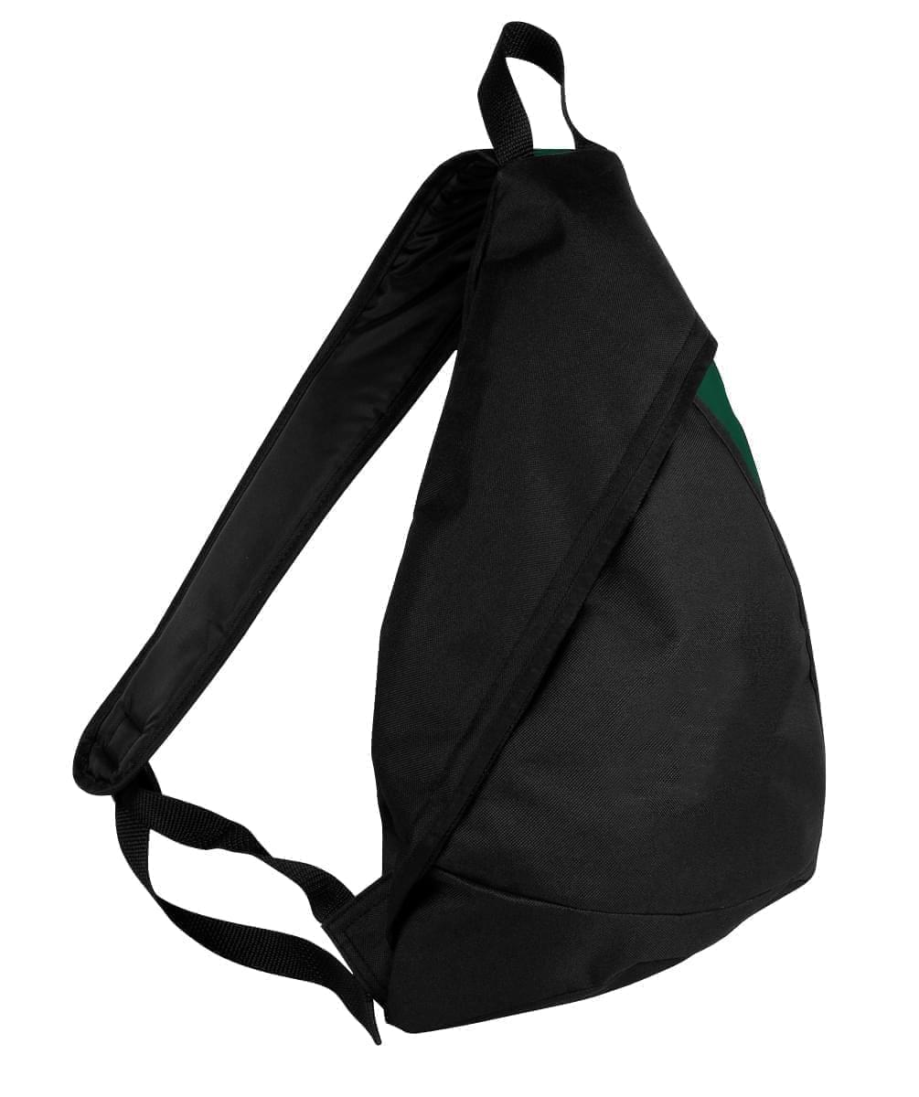 USA Made Poly Sling Messenger Backpacks, Black-Hunter Green, 2101110-AOV