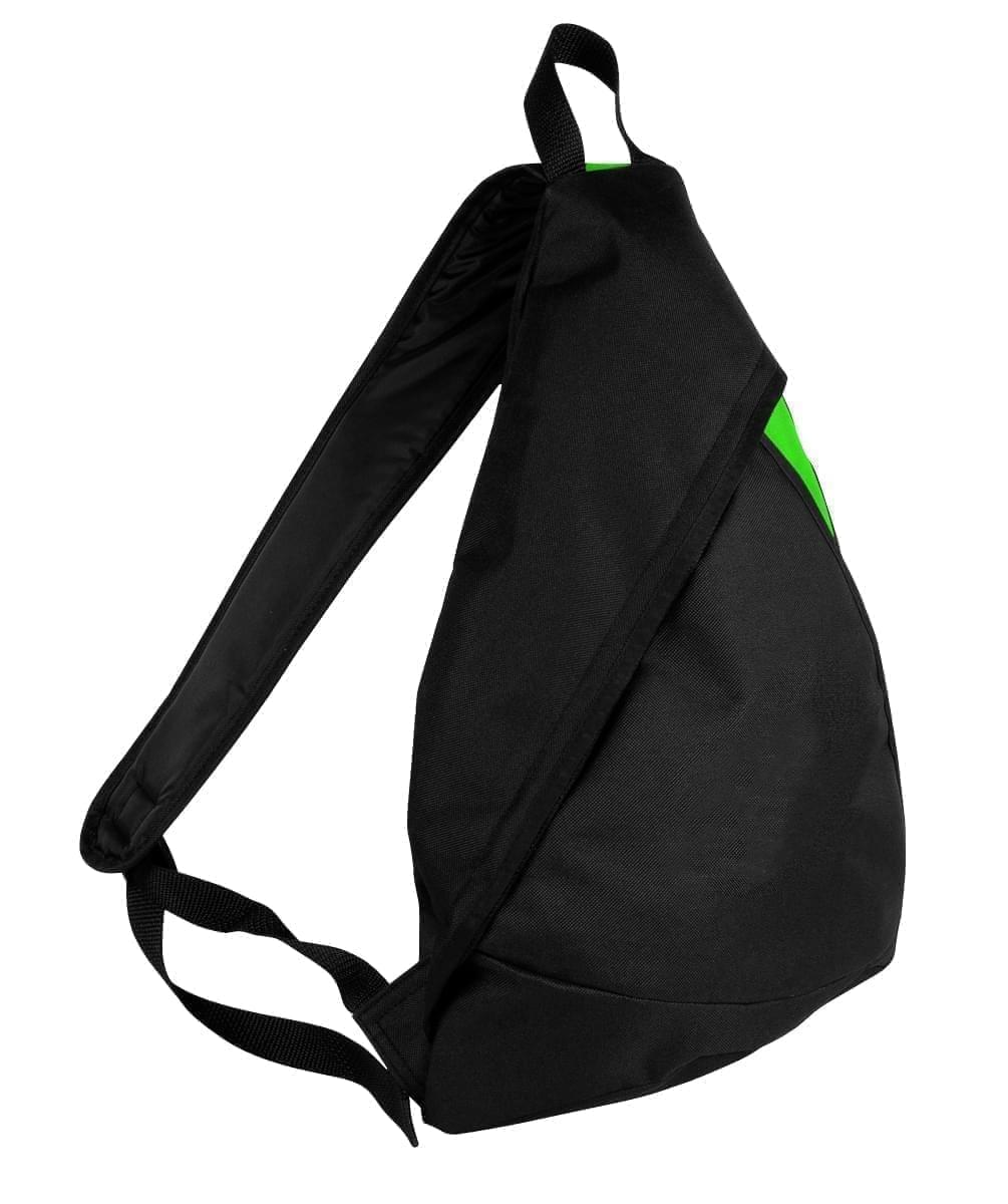 USA Made Poly Sling Messenger Backpacks, Black-Lime, 2101110-AOY