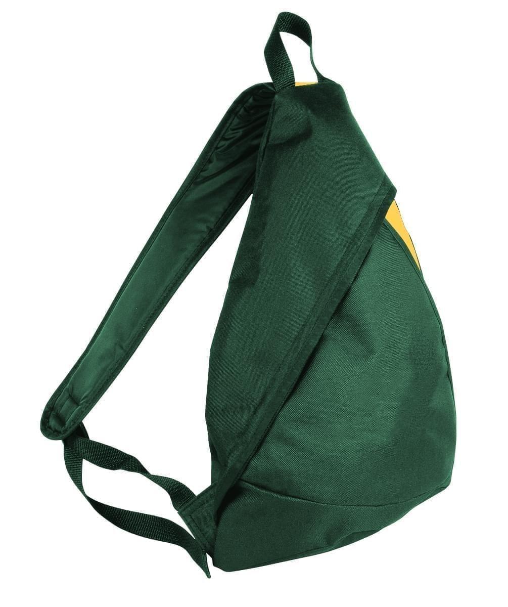 USA Made Poly Sling Messenger Backpacks, Hunter Green-Gold, 2101110-AS5