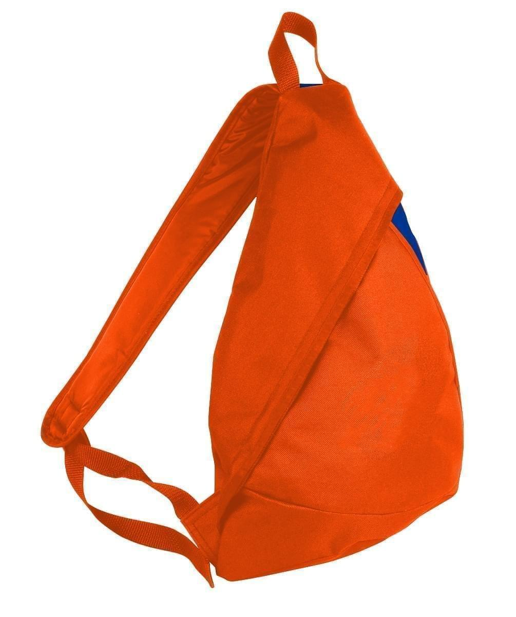 USA Made Poly Sling Messenger Backpacks, Orange-Royal Blue, 2101110-AX3