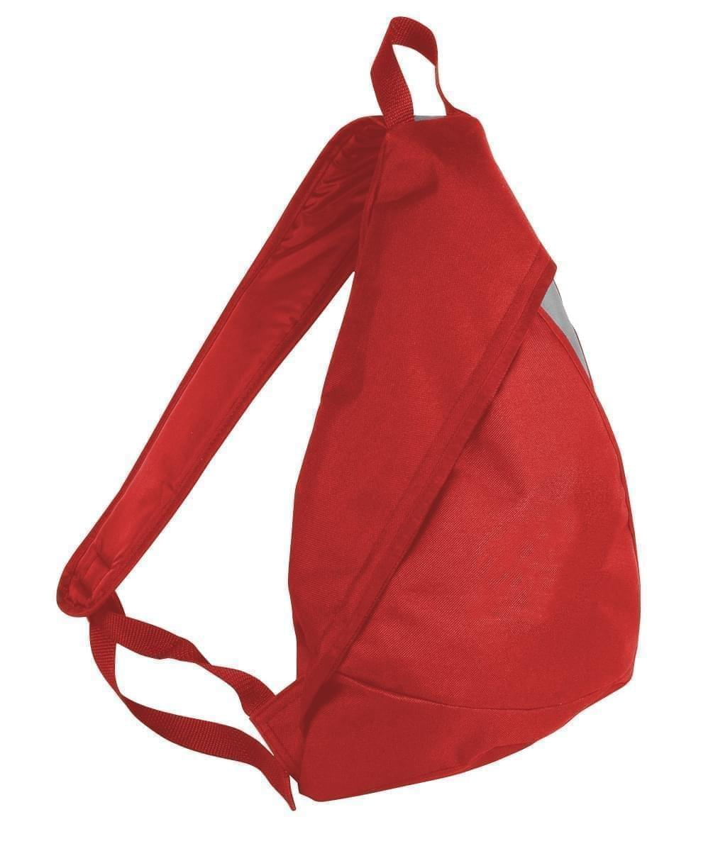 USA Made Poly Sling Messenger Backpacks, Red-Grey, 2101110-AZU