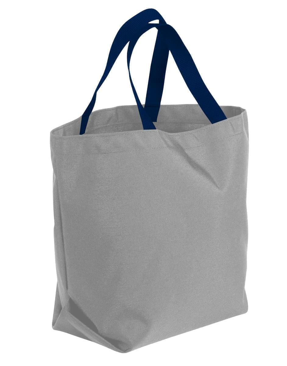 USA Made Poly Convention Expo Tote Bags, Grey-Navy, 2BAD31UA1Z
