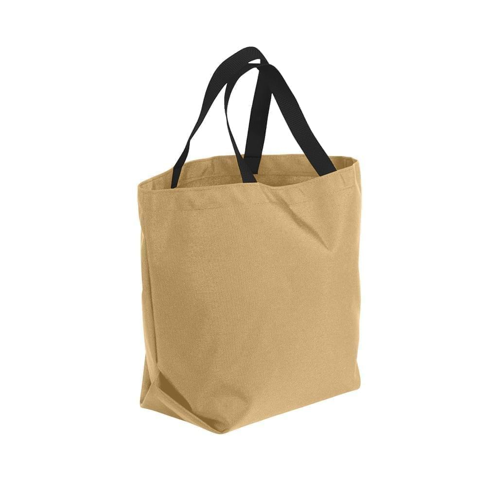 USA Made Poly Convention Expo Tote Bags, Khaki-Black, 2BAD31UA2R