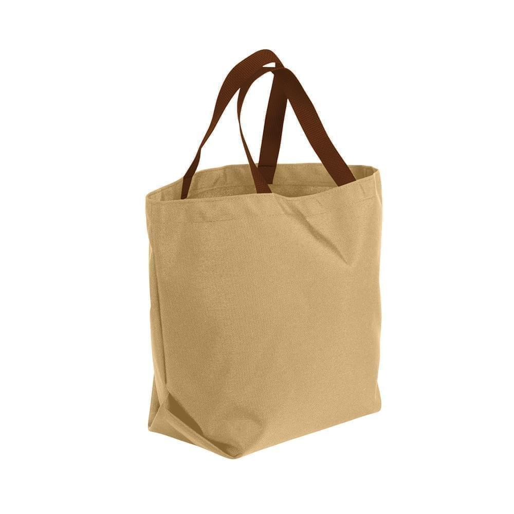 USA Made Poly Convention Expo Tote Bags, Khaki-Brown, 2BAD31UA2S