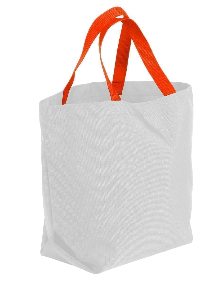 USA Made Poly Convention Expo Tote Bags, White-Orange, 2BAD31UA30