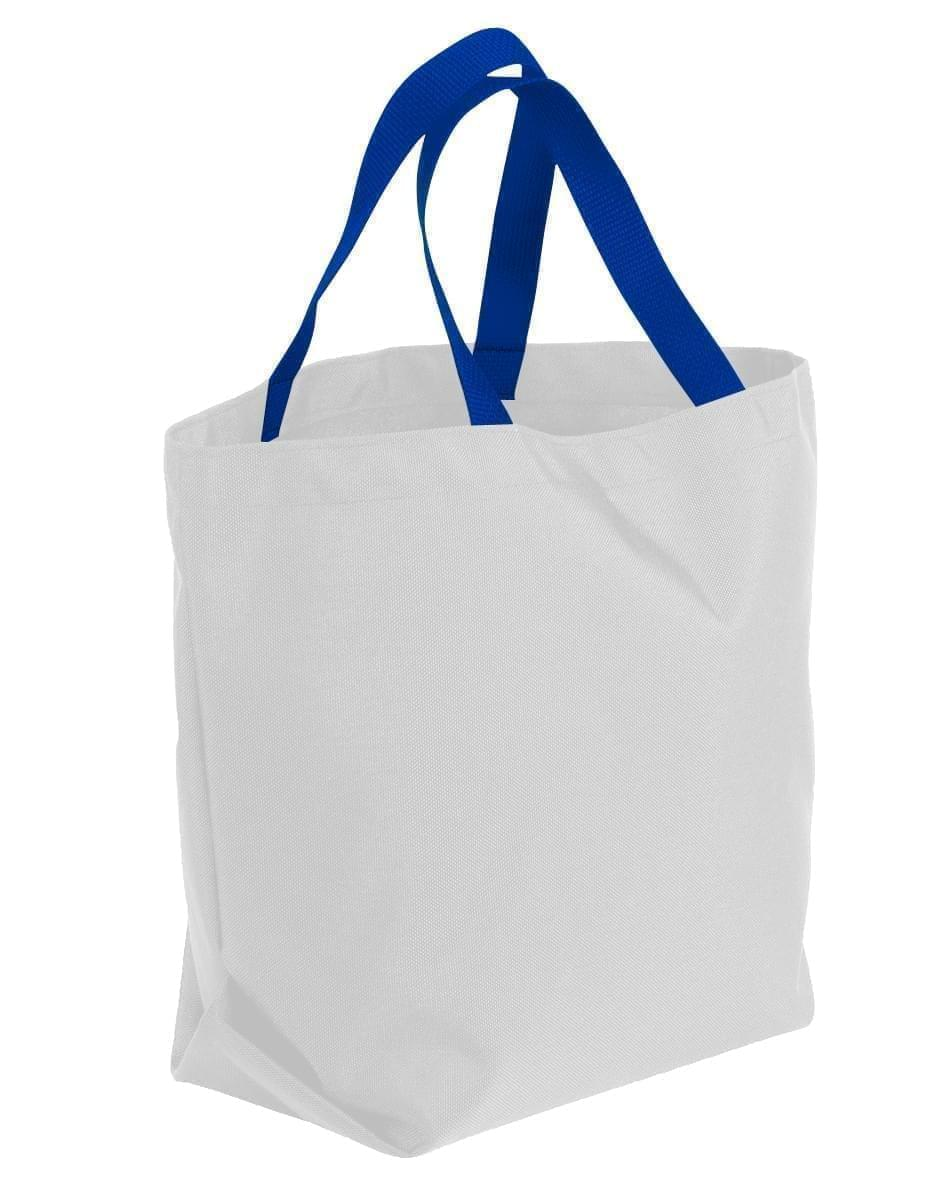 USA Made Poly Convention Expo Tote Bags, White-Royal Blue, 2BAD31UA33