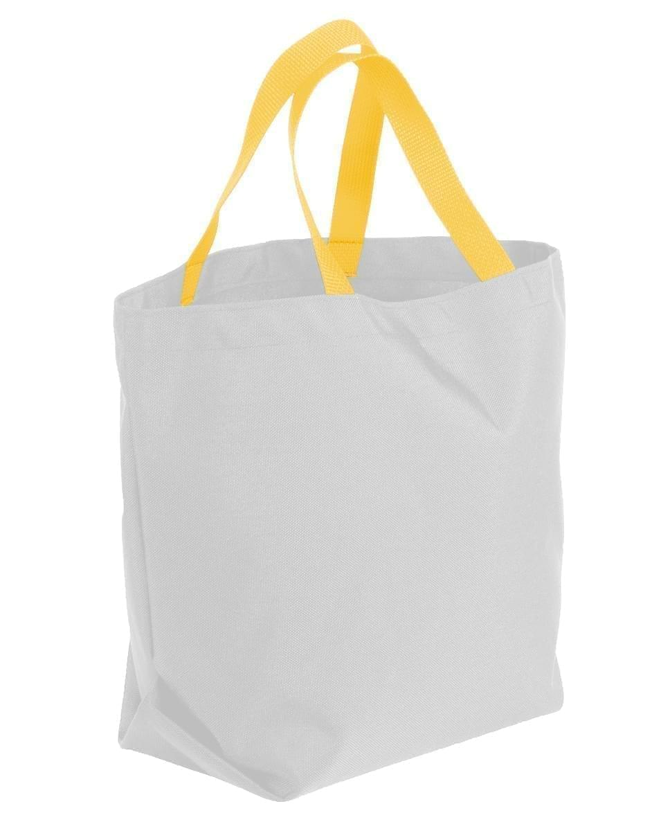 USA Made Poly Convention Expo Tote Bags, White-Gold, 2BAD31UA35