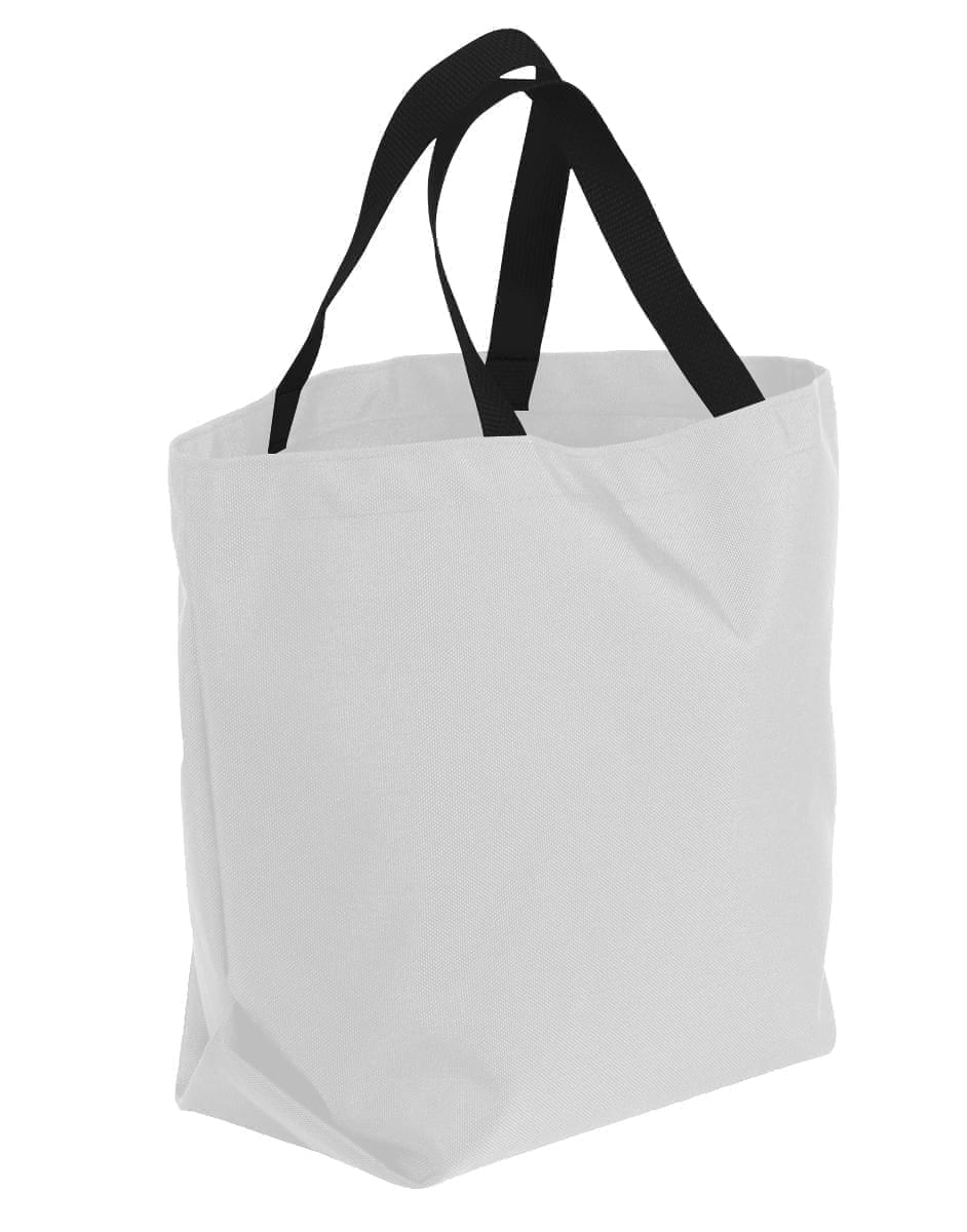 USA Made Poly Convention Expo Tote Bags, White-Black, 2BAD31UA3R
