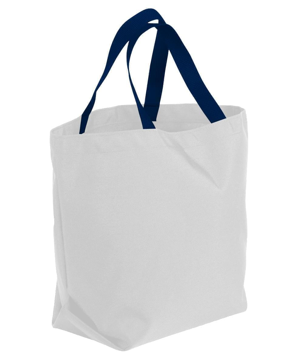 USA Made Poly Convention Expo Tote Bags, White-Navy, 2BAD31UA3Z