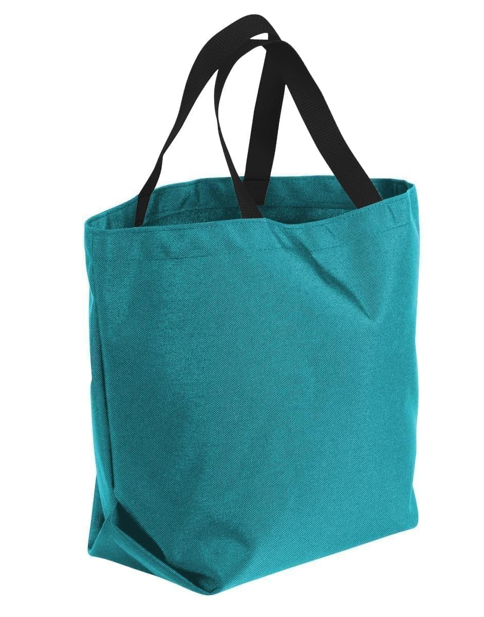 USA Made Poly Convention Expo Tote Bags, Turquoise-Black, 2BAD31UA9R
