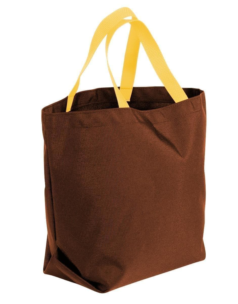USA Made Canvas Grocery Tote Bags, Brown-Gold, 2BAD31UAA5