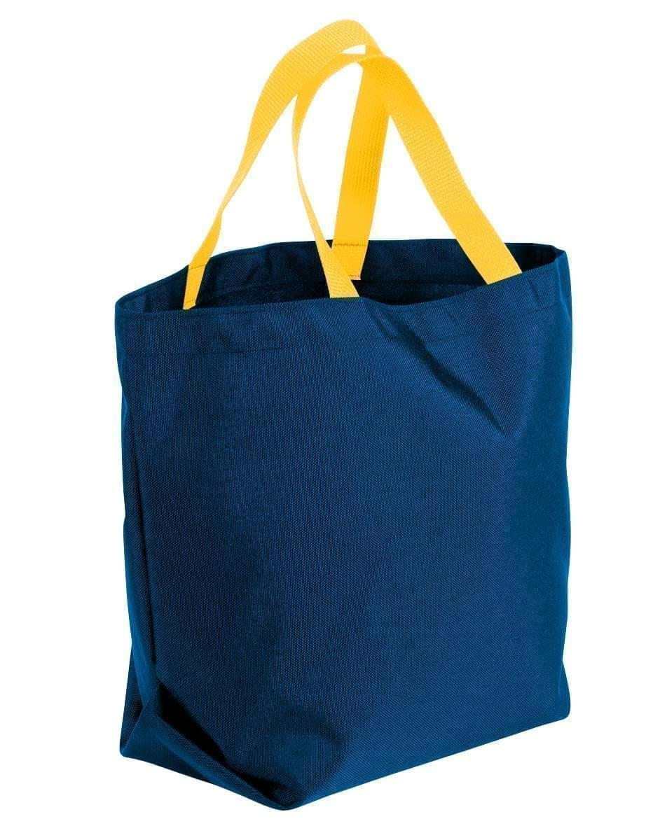 USA Made Canvas Grocery Tote Bags, Navy-Gold, 2BAD31UAC5