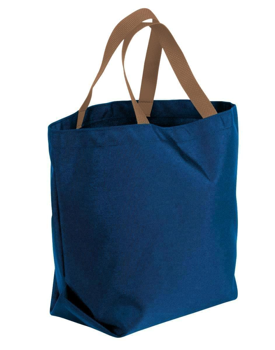USA Made Canvas Grocery Tote Bags, Navy-Bronze, 2BAD31UACO