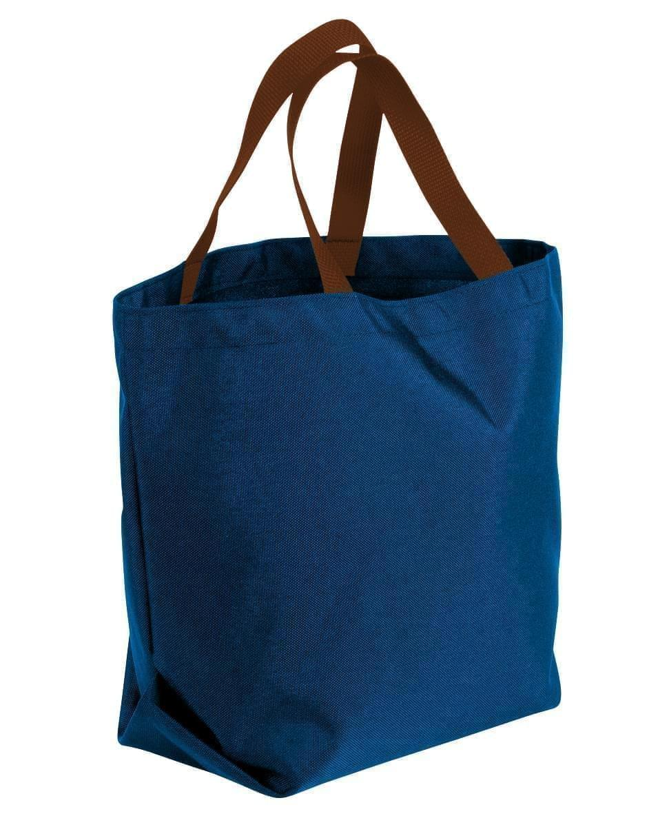 USA Made Canvas Grocery Tote Bags, Navy-Brown, 2BAD31UACS