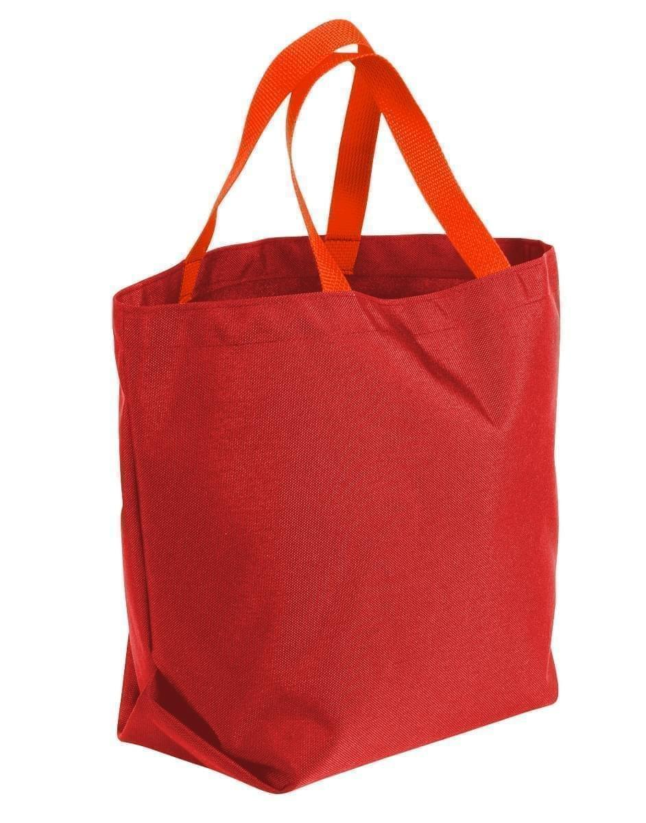 USA Made Canvas Grocery Tote Bags, Red-Orange, 2BAD31UAE0