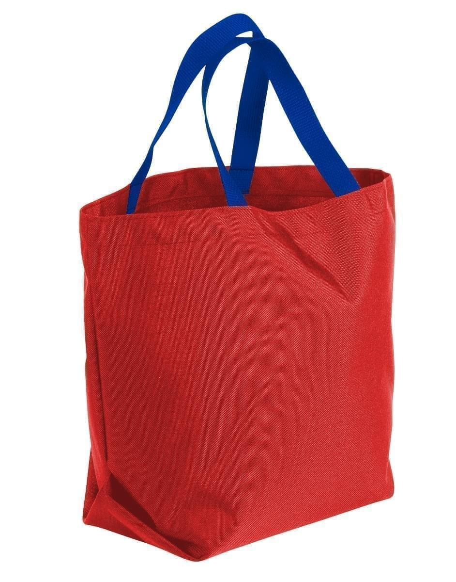 USA Made Canvas Grocery Tote Bags, Red-Royal Blue, 2BAD31UAE3